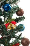 Close up of christmas tree with ornament, bauble, and decoration Royalty Free Stock Photos