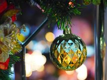 Close-up of Christmas tree with ornament. royalty free stock photo