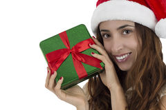 Close up of Christmas woman showing a gift box Stock Image