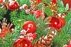 Close-up of a Christmas wreath Royalty Free Stock Images
