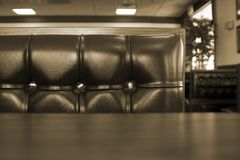 Close up on a Chrome Restaurant Booth Stock Photography