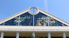 Close-Up of Church Steeple with Stunning Glass Window Royalty Free Stock Images