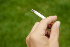 Close-up of cigarette is in the hand of man. Green grass background Stock Images