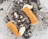 Close up of cigarettes butt. Close up shot of cigarettes butt in ashtray Stock Photos