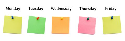 sticky notes for the week royalty free stock image