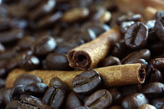 Close-up cinnamon stick and coffee beans Stock Photo