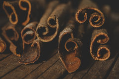 Close up of cinnamon sticks Royalty Free Stock Images