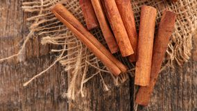 Cinnamon. Close up on cinnamon, top view Royalty Free Stock Images