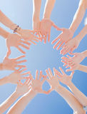 Close up of circle of hands. Success and gesture concept - close up of circle of hands Stock Image