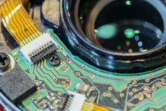 Close up of circuit in camera lens.  Stock Photo