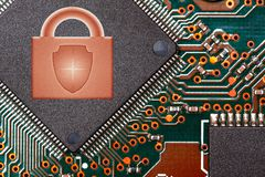Close up circuit digital chip with lock logo. security technologies concept.  stock images