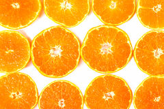 Close-up citrus-fruit of orange slices on white background. Stock Photos