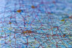 Map of the city of Dalas, Texas in USA Royalty Free Stock Photo