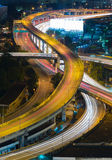 Close up city highway overpass night view Stock Photography