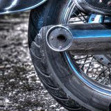 Close up of a classic motorcycle rear wheel in hdr Royalty Free Stock Photography