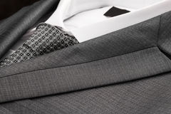 Close-up classic suit, shirt and tie. Stock Photography