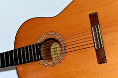 An old classical guitar stock photo