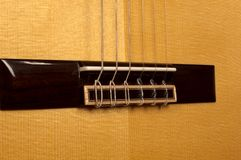 Close up of classical guitar bridge Stock Photography