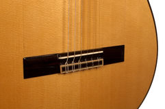 Close up of classical guitar bridge Royalty Free Stock Photography