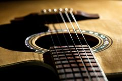 Close-up of classical guitar strings. royalty free stock photo