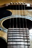 Close-up of classical guitar strings. royalty free stock photography