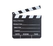 Close-up of a classical movie clapper ready to record a new. Hollywood production  with blank spaces for director  camera  date  scene and take  isolated on Royalty Free Stock Photo