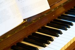 Close up of classical piano keyboard stock photo