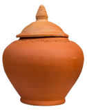 Close up of clay pot with lid Royalty Free Stock Images