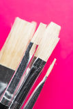 Close up of clean paintbrushes Royalty Free Stock Photos