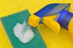 Close up of cleaning bottle Stock Photography