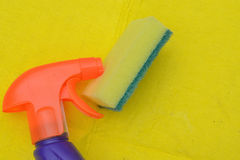 Close up of cleaning spray Royalty Free Stock Images