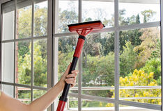 Close up of cleaning window Royalty Free Stock Photography