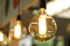 Close up of clear light bulb Stock Photos