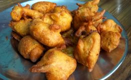 Fried Pakora. Close up click of Indian tasty and salty snack pakora in a plate stock photography