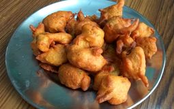 Fried Pakora. Close up click of Indian tasty and salty snack pakora in a plate stock image
