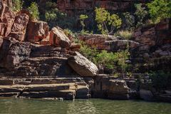 Rocky cliff face at Katherine River Gorge in Australia Stock Photography