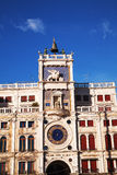 Close up of Clock Tower at San Marco square in Venice Stock Photography