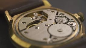 Close up of clockwork drive in a classy watch.  stock video