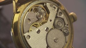 Close up of clockwork drive in a classy watch.  stock footage