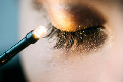Close-up of closed eye. With bright fashion golden eyeshadow royalty free stock photo