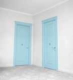 Close up of closed wooden door in the empty room Stock Image
