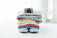 Close up of clothes and accessories on table Royalty Free Stock Photography