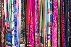 Cloths multicolored in the market Royalty Free Stock Photos