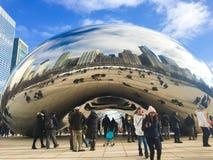 CLOUD GATE;THE BEAN,CHICAGO. Close up of the Cloud Gate sculpture Millennium Park, Chicago Illinois Stock Images