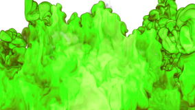 Close-up cloud of vivid green Ink underwater with alpha mask. Use for for transitions, background, overlay and effects stock footage