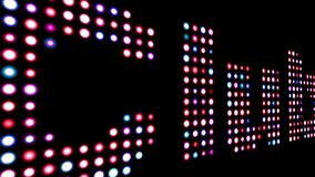 Club led text isolated on black. Close up of Club led text isolated on black vector illustration