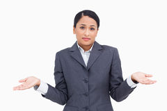 Close up of clueless saleswoman Stock Image