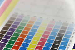 Close-up of cmyk test print, side view Royalty Free Stock Photo