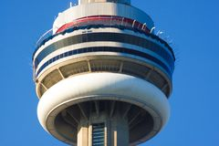 Close up of CN Tower observation glass floor in Toronto Ontario Canada stock photos