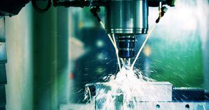 Close up of CNC machine. At work Stock Photography